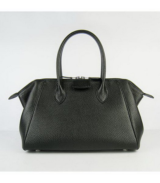 Hermes Calfskin Leather Double zipper Tote Bag Black