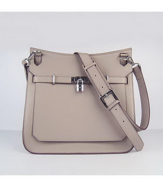 Hermes 34cm Unisex Jypsiere Togo Leather Bag Grey with Silver Metal