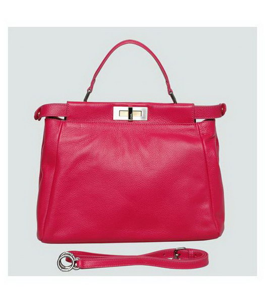 Fendi Peekaboo Tote Bag Fuchsia Calfskin Leather
