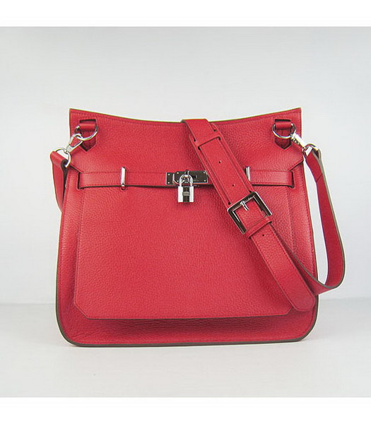 Hermes 34cm Unisex Jypsiere Togo Leather Bag Red with Silver Metal