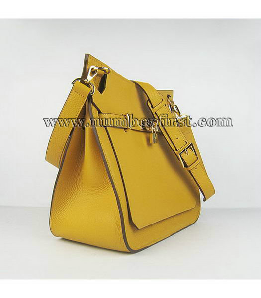 Hermes 34cm Unisex Jypsiere Togo Leather Bag Yellow with Golden Metal-1