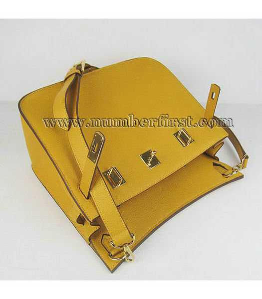 Hermes 34cm Unisex Jypsiere Togo Leather Bag Yellow with Golden Metal-3