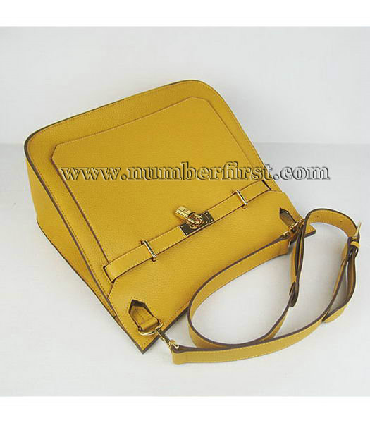 Hermes 34cm Unisex Jypsiere Togo Leather Bag Yellow with Golden Metal-5