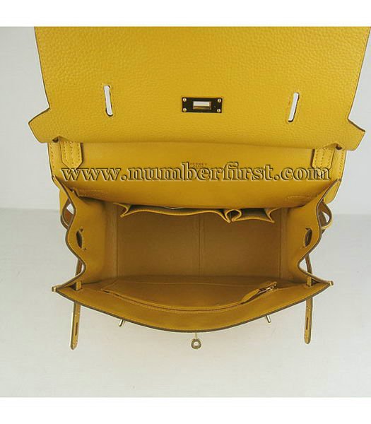 Hermes 34cm Unisex Jypsiere Togo Leather Bag Yellow with Golden Metal-6