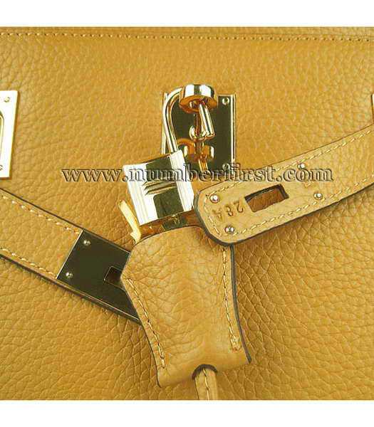 Hermes 34cm Unisex Jypsiere Togo Leather Bag Yellow with Golden Metal-7