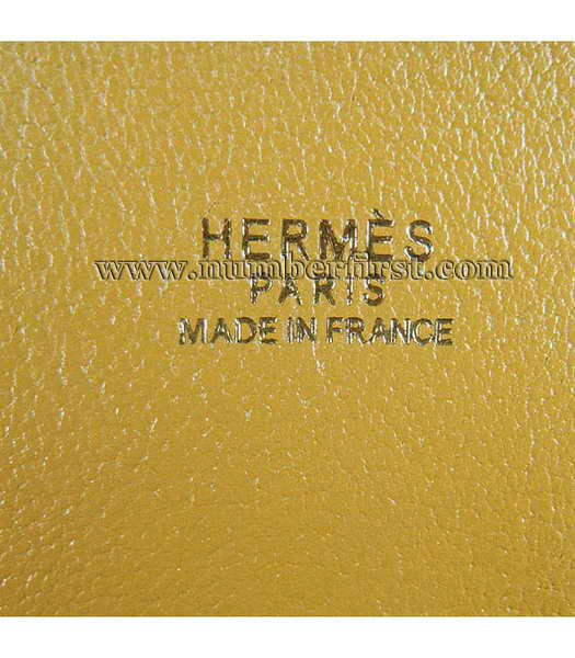 Hermes 34cm Unisex Jypsiere Togo Leather Bag Yellow with Golden Metal-8