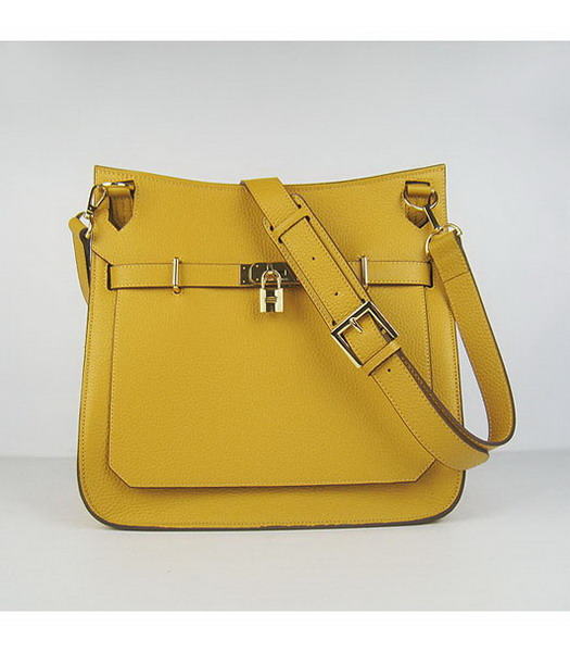 Hermes 34cm Unisex Jypsiere Togo Leather Bag Yellow with Golden Metal