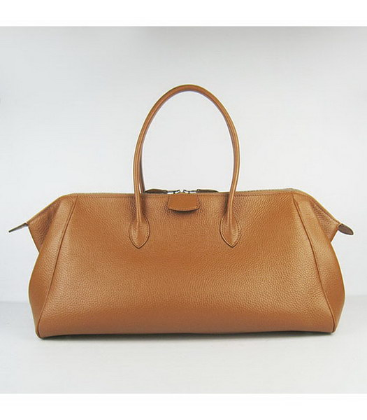 Hermes Calfskin Leather Double zipper Tote Bag Light Coffee