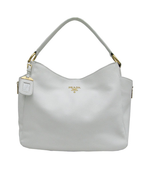 Prada White Calfskin Shoulder Bag