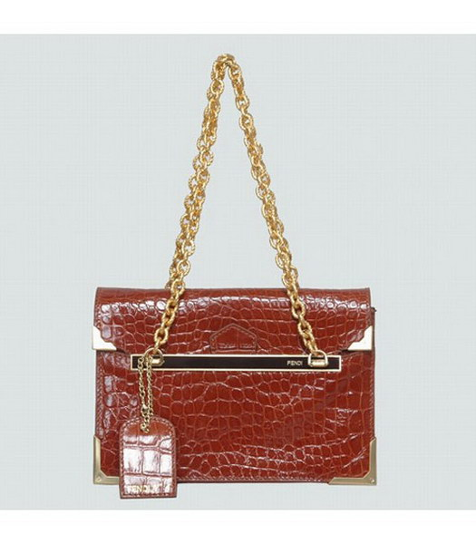 Fendi Croc Veins Leather Small Shoulder Chain Bag Coffee