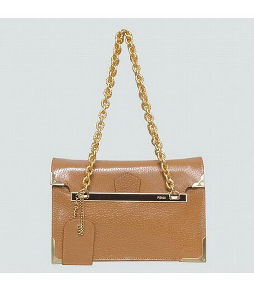 Fendi Full Grain Leather Small Shoulder Chain Bag Earth Yellow