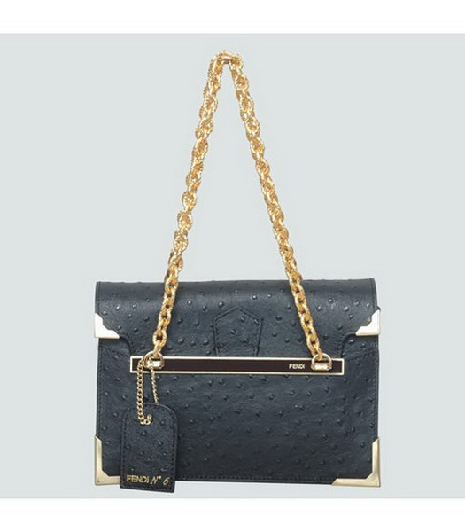 Fendi Ostrich Veins Leather Small Shoulder Chain Bag Black