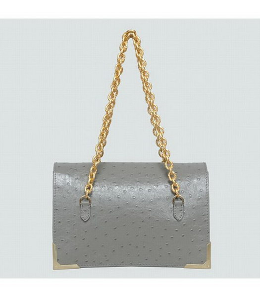 Fendi Ostrich Veins Leather Small Shoulder Chain Bag Grey