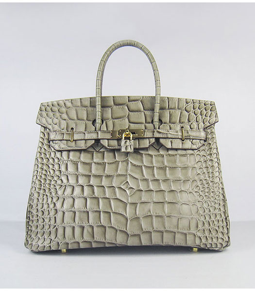 Hermes Birkin 35cm Bag Khaki Big Croc Veins Leather Golden Metal