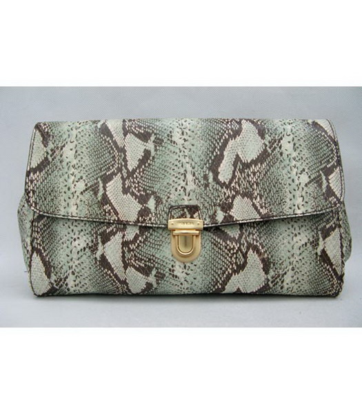 Prada Lambskin Clutch in Light Blue Snake Veins Leather