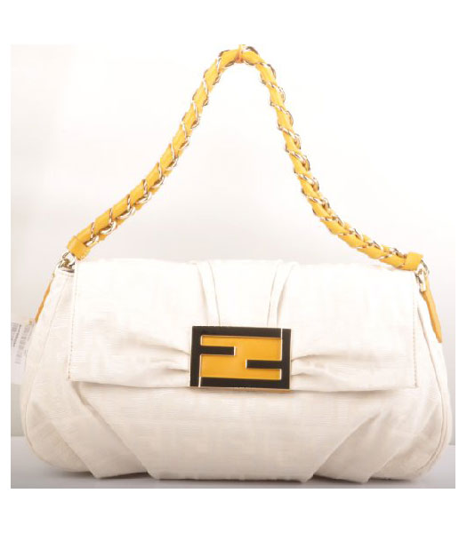 Fendi F Canvas Messenger Bag with Yellow Oil Leather Trim