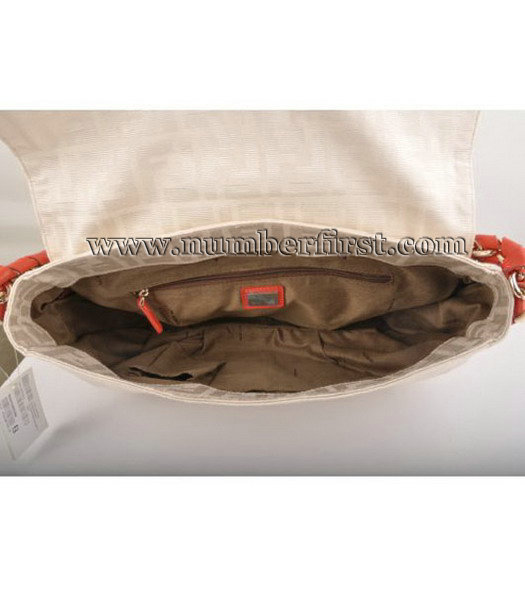Fendi F Canvas Messenger Bag with Red Oil Leather Trim-5