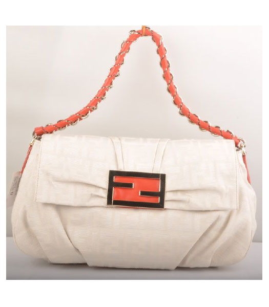 Fendi F Canvas Messenger Bag with Red Oil Leather Trim