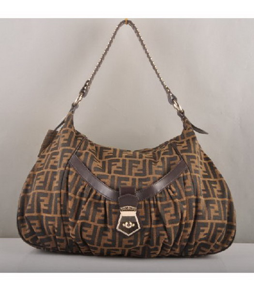 Fendi Canvas Shoulder Bag with Coffee Lambskin Leather Trim