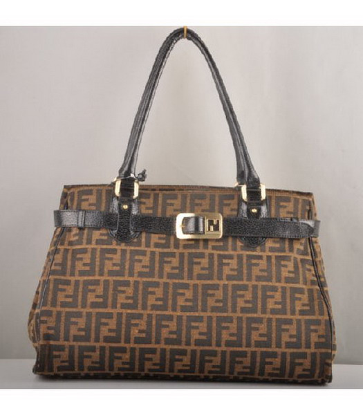 Fendi Canvas Tote Bag with Black Leather Trim