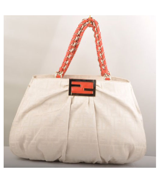 Fendi White F Canvas Shoulder Bag with Red Oil Leather Trim