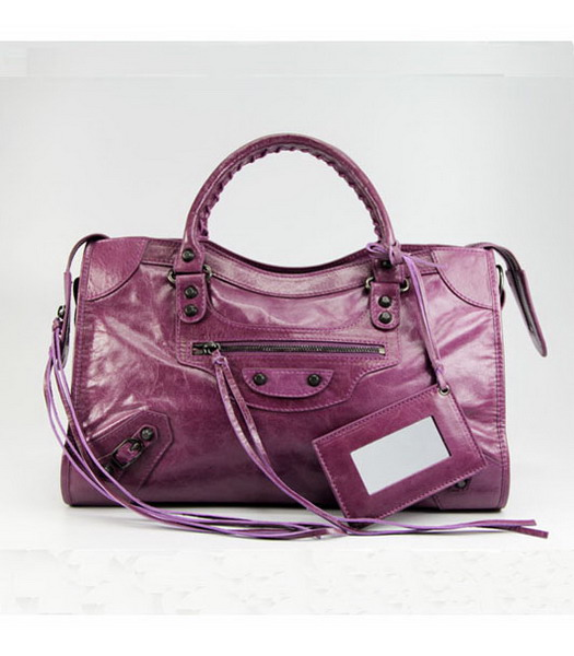 Balenciaga Motorcycle City Bag in Light Purple Oil Leather