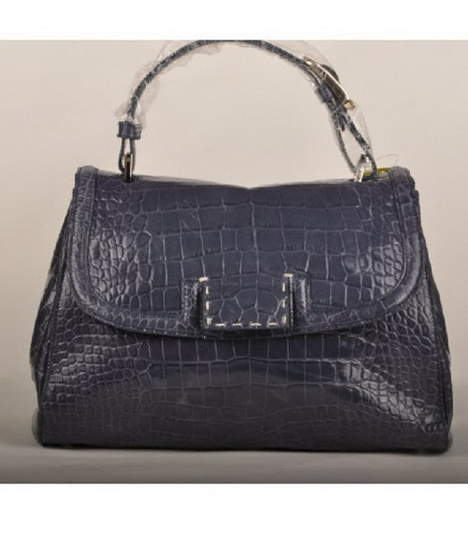 Fendi Croc Veins Leather Small Tote Bag Light Blue