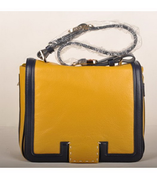 Fendi Leather Messenger Bag Yellow with blue