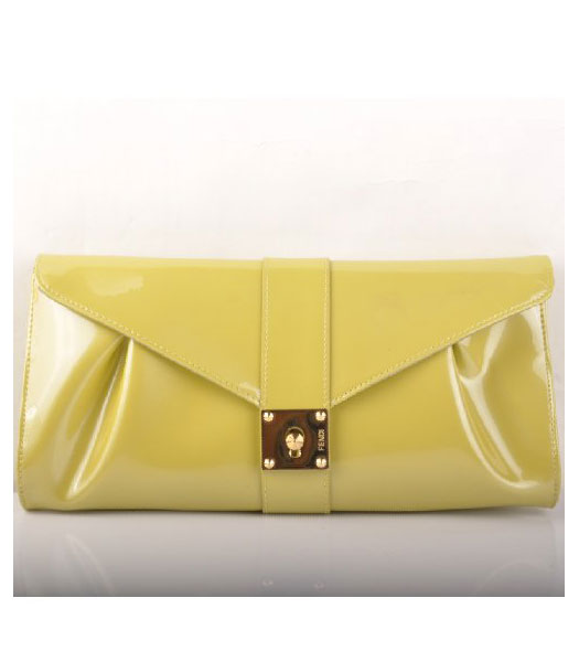 Fendi Patent Leather Clutch Light Green