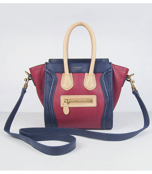 Celine New Fashion Tote Messenger Bag Tricolour Calfskin Leather