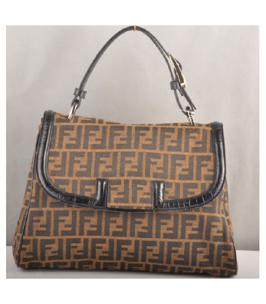 Fendi F Canvas Tote Bag with Black Croc Veins Leather Trim