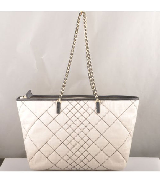 Fendi F Canvas Chain Bag with Black Oil Leather Trim
