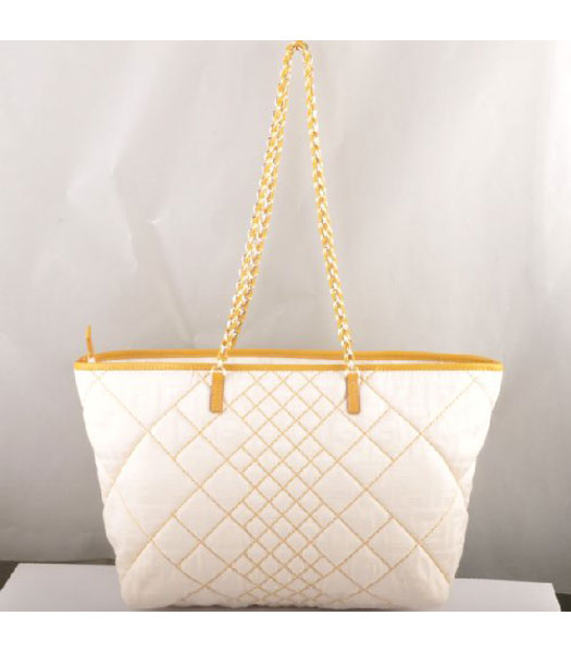 Fendi F Canvas Chain Bag with Yellow Oil Leather Trim