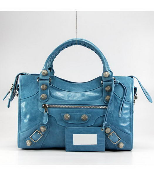 Balenciaga New City Bag in Blue Oil Leather