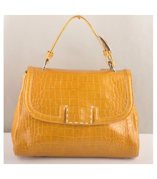 Fendi Croc Veins Leather Tote Bag Yellow