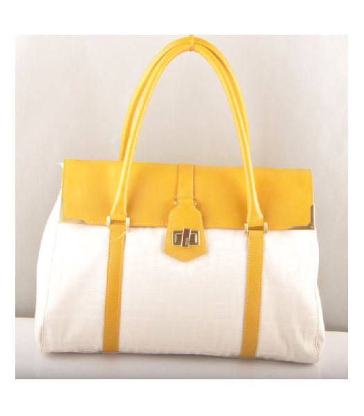 Fendi Peekaboo Tote Bag F Canvas with Yellow Oil Leather Trim