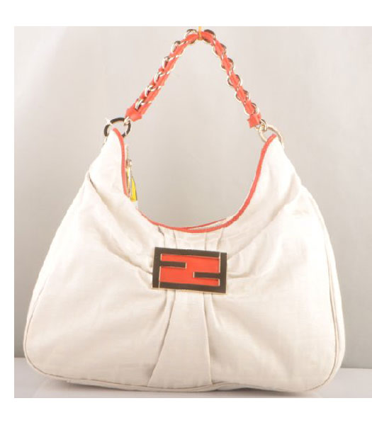Fendi Leather F Canvas Tote Shoulder Bag with Red Oil Leather Trim