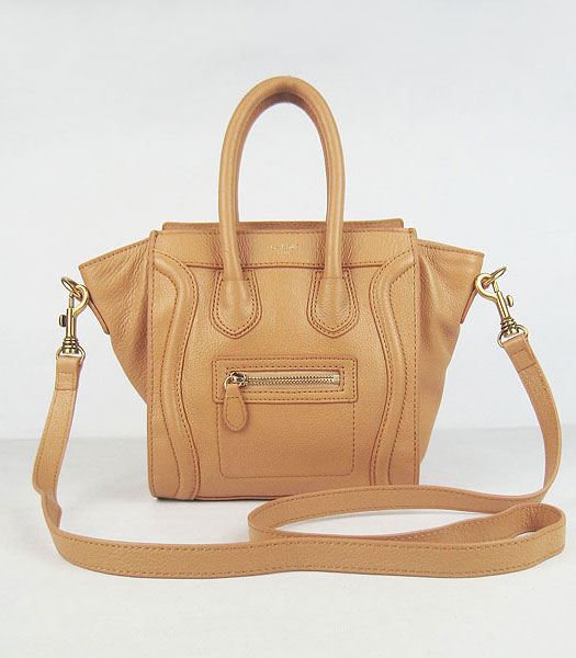 Celine New Fashion Tote Messenger Bag Earth Yellow Calfskin Leather