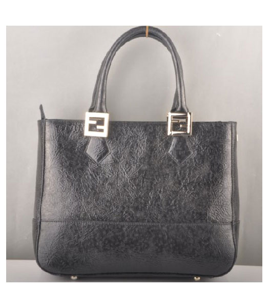 Fendi Tote Shoulder Bag Black Leather