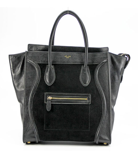 Celine Leather Tote Bag Black_Black