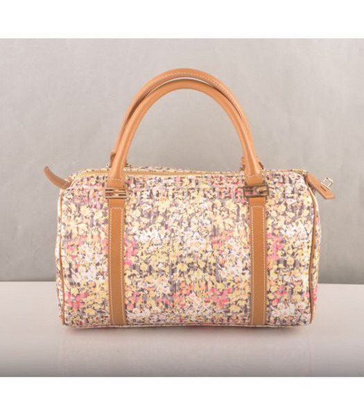 Fendi Rose Print Tote Bag with Leather Trim