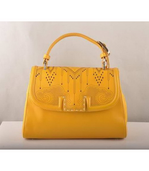 Fendi Flap Bag Yellow Cow Leather