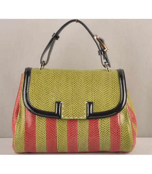 Fendi Silvana Crossbody Snake Leather Tote Bag Light Green&Pink
