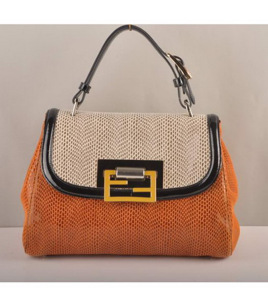 Fendi Silvana Crossbody Snake Leather Tote Bag White&Orange