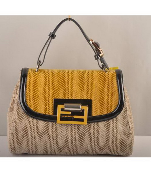 Fendi Silvana Crossbody Snake Leather Tote Bag Yellow&Offwhite