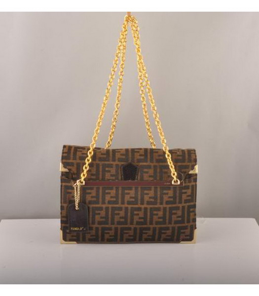 Fendi Canvas with Coffee Leather Chain Bag