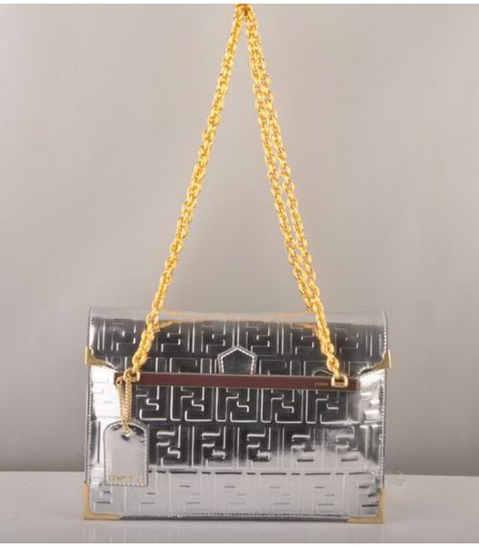 Fendi Embossed Patent Leather Chain Bag Silver