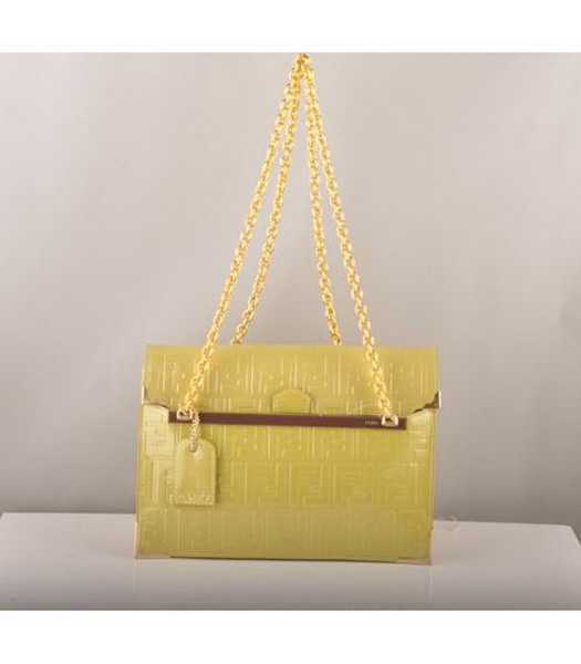 Fendi Embossed Patent Leather Chain Bag Yellow