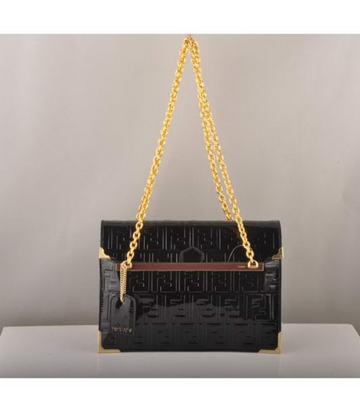 Fendi Embossed Patent Leather Chain Bag Black