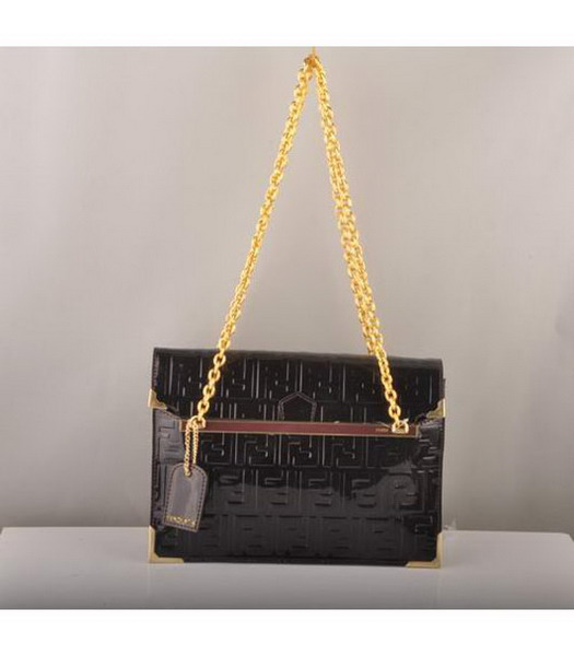 Fendi Embossed Patent Leather Chain Bag Dark Coffee
